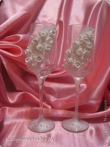 Декор предметов Декупаж: Свадебные аксессуары ручной работы Бусинки, Бутылки стеклянные, Краска, Кружево Свадьба. Фото 3