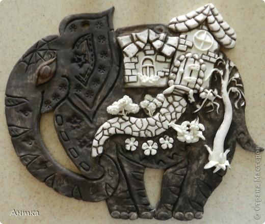 Картина, панно, рисунок, Поделка, изделие, Сказка Лепка: Слон Тесто соленое. Фото 5