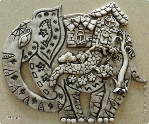 Картина, панно, рисунок, Поделка, изделие, Сказка Лепка: Слон Тесто соленое. Фото 6