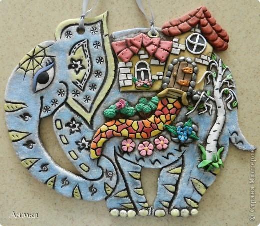 Картина, панно, рисунок, Поделка, изделие, Сказка Лепка: Слон Тесто соленое. Фото 1