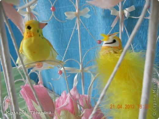 Свит-дизайн Бумагопластика: птички в клетке Бумага гофрированная. Фото 5