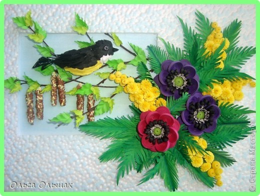 Картина, панно Бумагопластика, Квиллинг: Весна! Бумага, Бумажные полосы. Фото 1