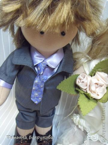 Куклы Шитьё: Свадебные куклы. Ткань Свадьба. Фото 5