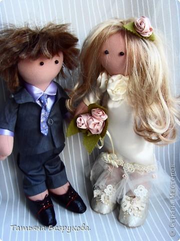 Куклы Шитьё: Свадебные куклы. Ткань Свадьба. Фото 3