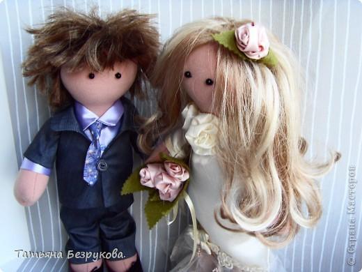 Куклы Шитьё: Свадебные куклы. Ткань Свадьба. Фото 1