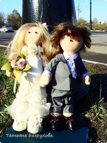 Куклы Шитьё: Свадебные куклы. Ткань Свадьба. Фото 9
