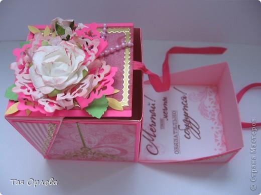 Открытка, Скрапбукинг, Упаковка Аппликация, Ассамбляж: Маленькая коробочка для подарка Бумага, Ленты 8 марта, День рождения. Фото 7