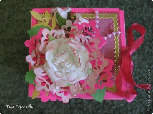 Открытка, Скрапбукинг, Упаковка Аппликация, Ассамбляж: Маленькая коробочка для подарка Бумага, Ленты 8 марта, День рождения. Фото 3