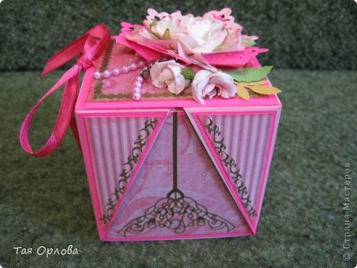 Открытка, Скрапбукинг, Упаковка Аппликация, Ассамбляж: Маленькая коробочка для подарка Бумага, Ленты 8 марта, День рождения. Фото 10