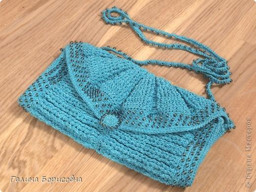 Гардероб, Презент от Голубки Вязание крючком: Бирюзовая сумочка с бисером Бисер, Пряжа. Фото 1