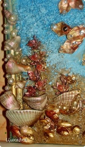 Картина, панно, рисунок, Поделка, изделие Ассамбляж: В синем море, в белой пене.... Три желания??? - Легко!!!)))) Бисер, Бусинки, Гуашь, Клей, Краска, Пайетки, Ракушки, Соль, Шишки День рождения. Фото 2