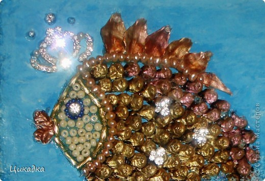 Картина, панно, рисунок, Поделка, изделие Ассамбляж: В синем море, в белой пене.... Три желания??? - Легко!!!)))) Бисер, Бусинки, Гуашь, Клей, Краска, Пайетки, Ракушки, Соль, Шишки День рождения. Фото 4