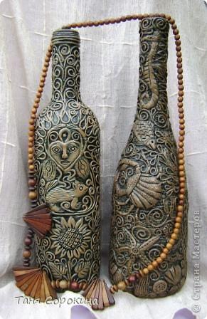 Декор предметов Аппликация из скрученных жгутиков: Имитация дерева. Пейп-арт. Бутылки стеклянные, Салфетки. Фото 1