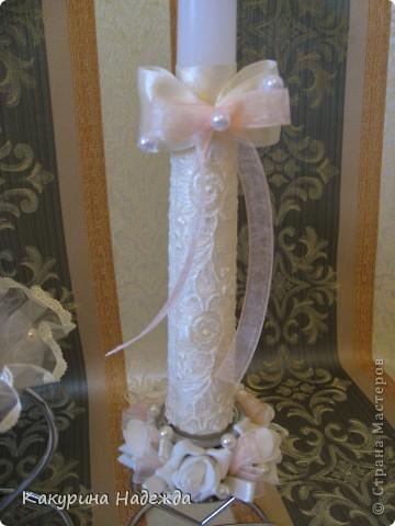 Декор предметов: Мастер-класс по декорированию свечи. Бусинки, Клей, Кружево, Ленты, Свечи 8 марта, Свадьба. Фото 3