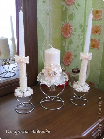 Декор предметов: Мастер-класс по декорированию свечи. Бусинки, Клей, Кружево, Ленты, Свечи 8 марта, Свадьба. Фото 6