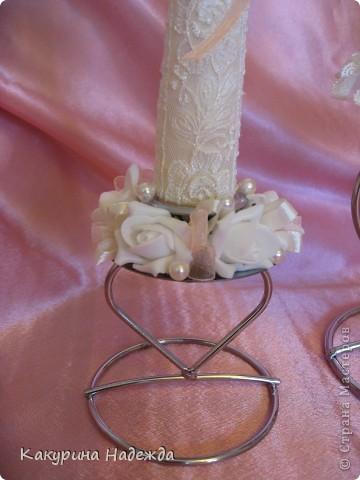 Декор предметов: Мастер-класс по декорированию свечи. Бусинки, Клей, Кружево, Ленты, Свечи 8 марта, Свадьба. Фото 5