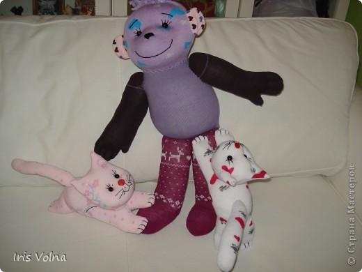 Игрушка Шитьё: Мини МК по пошиву котика и большой обезьянки из носков Носки. Фото 1