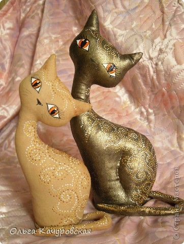 Игрушка, Мастер-класс Шитьё: А у нас теперь кошки живут! Ткань 8 марта, Валентинов день, День рождения. Фото 1