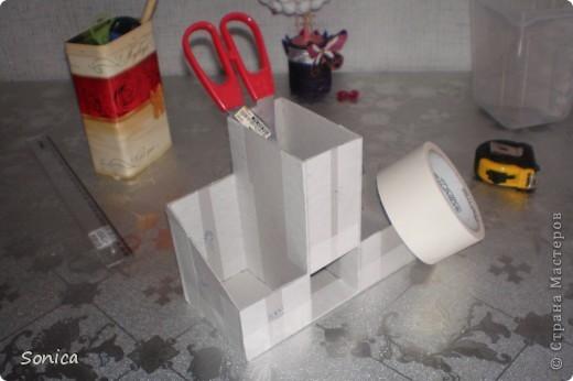Мастер-класс, Поделка, изделие Моделирование: Органайзер для рабочего стола. Небольшой МК. Бусинки, Картон, Клей. Фото 4