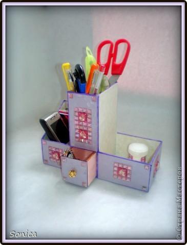 Мастер-класс, Поделка, изделие Моделирование: Органайзер для рабочего стола. Небольшой МК. Бусинки, Картон, Клей. Фото 1