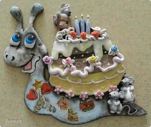 """Картина, панно, рисунок, Поделка, изделие Декупаж, Лепка,  Роспись: Улитка """"Happy Birthday"""" Тесто соленое День рождения.  Фото 1"""