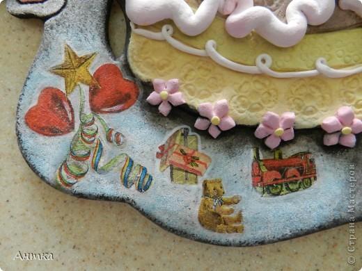 """Картина, панно, рисунок, Поделка, изделие Декупаж, Лепка,  Роспись: Улитка """"Happy Birthday"""" Тесто соленое День рождения.  Фото 7"""