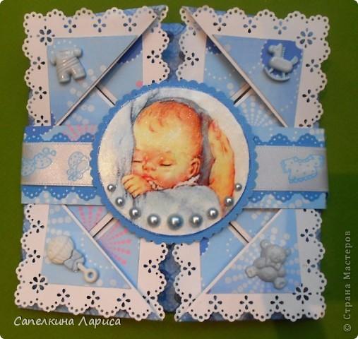 Открытка: С новорожденным Бумага, Ленты, Пуговицы День рождения. Фото 1