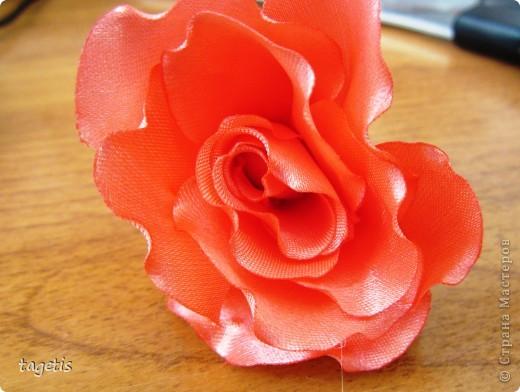"""Предлагаю МК розы """"распустившейся"""". Эта роза из ленты шириной 5см. Можно использовать любой другой материал (атлас, креп-сатин или любую другую ткань, из которой можно сделать лепестки, но не очень мягкую - из атласной ткани получается плохо, она не держит форму). Фото 19"""