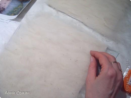 Картина, панно, Мастер-класс Валяние (фильцевание), Рисование и живопись: Синички на берёзе+МК Шерсть. Фото 3