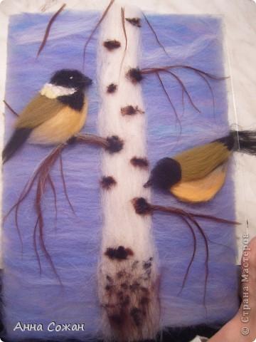 Картина, панно, Мастер-класс Валяние (фильцевание), Рисование и живопись: Синички на берёзе+МК Шерсть. Фото 23