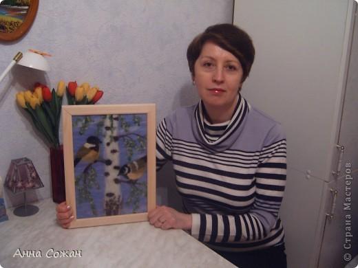 Картина, панно, Мастер-класс Валяние (фильцевание), Рисование и живопись: Синички на берёзе+МК Шерсть. Фото 25