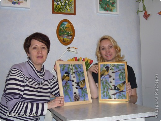 Картина, панно, Мастер-класс Валяние (фильцевание), Рисование и живопись: Синички на берёзе+МК Шерсть. Фото 27