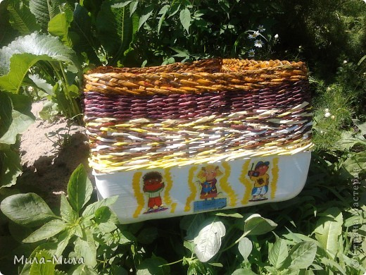 Декор предметов Декупаж, Плетение: Загибка Мадера плетеная коробочка Бумага газетная, Салфетки. Фото 1