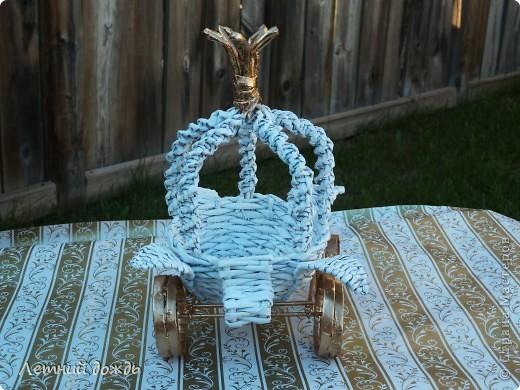 Поделка, изделие Плетение: Карета - конфетница. Маленький МК Бумага газетная Дебют. Фото 2