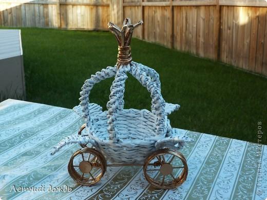Поделка, изделие Плетение: Карета - конфетница. Маленький МК Бумага газетная Дебют. Фото 3