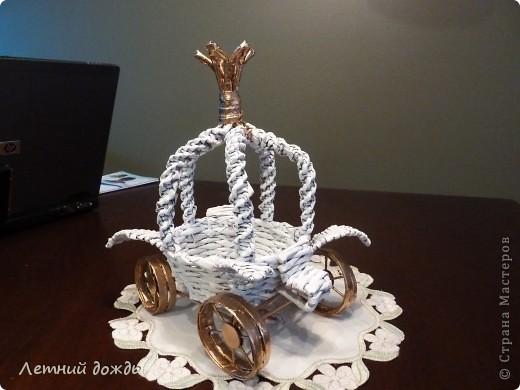 Поделка, изделие Плетение: Карета - конфетница. Маленький МК Бумага газетная Дебют. Фото 1