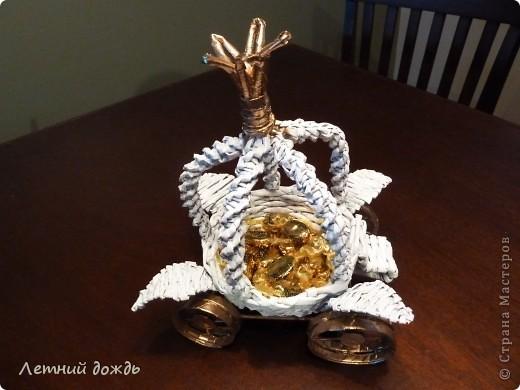Поделка, изделие Плетение: Карета - конфетница. Маленький МК Бумага газетная Дебют. Фото 16