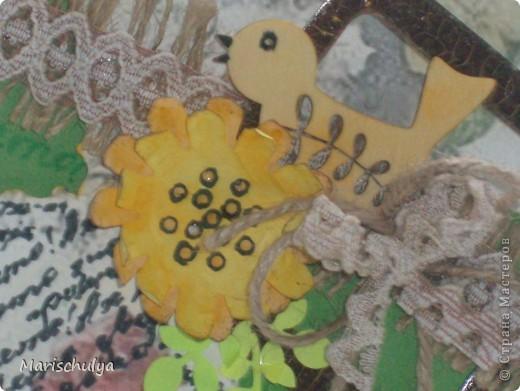 Открытка Ассамбляж: Лето! Ах лето! Бумага, Дерево, Картон, Кружево, Мешковина, Шпагат. Фото 2