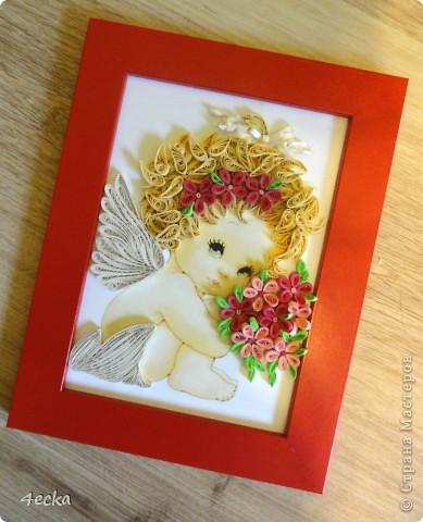 Картина, панно, рисунок Квиллинг: Маленький ангел 3 Бумажные полосы. Фото 1