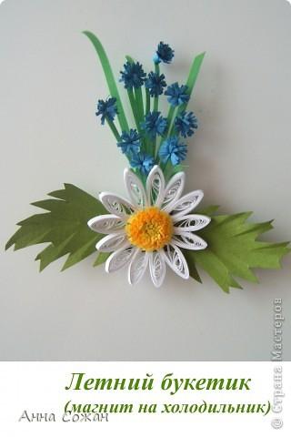 Поделка, изделие Бумагопластика, Квиллинг: Магнитики для души- Полевые цветы Бумага. Фото 8