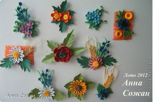 Поделка, изделие Бумагопластика, Квиллинг: Магнитики для души- Полевые цветы Бумага. Фото 1