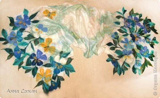 Гардероб Валяние (фильцевание): Летний палантин-мечты сбываются Ткань, Шерсть. Фото 10