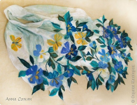 Гардероб Валяние (фильцевание): Летний палантин-мечты сбываются Ткань, Шерсть. Фото 6