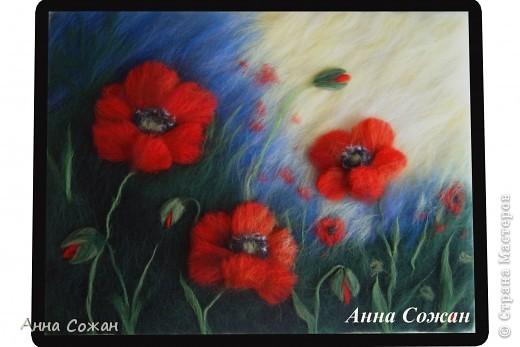Картина, панно Валяние (фильцевание), Рисование и живопись: Красные маки Шерсть. Фото 1
