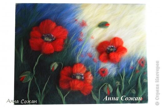Картина, панно Валяние (фильцевание), Рисование и живопись: Красные маки Шерсть. Фото 2