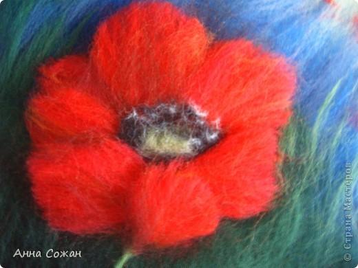 Картина, панно Валяние (фильцевание), Рисование и живопись: Красные маки Шерсть. Фото 3