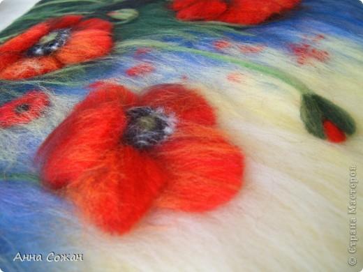 Картина, панно Валяние (фильцевание), Рисование и живопись: Красные маки Шерсть. Фото 4