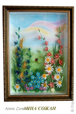 Картина, панно Бумагопластика, Квиллинг: На моём лугу цветы -для души и красоты! Бумага, Пастель День рождения. Фото 1