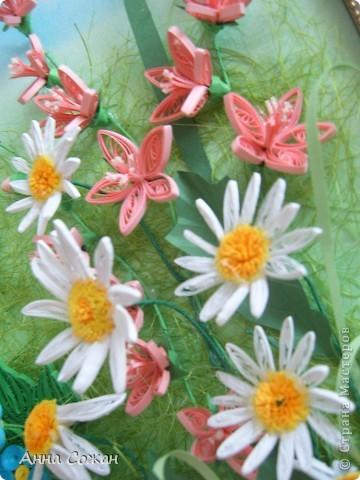 Картина, панно Бумагопластика, Квиллинг: На моём лугу цветы -для души и красоты! Бумага, Пастель День рождения. Фото 2
