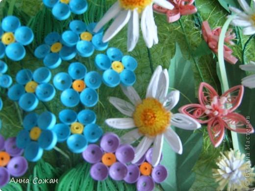 Картина, панно Бумагопластика, Квиллинг: На моём лугу цветы -для души и красоты! Бумага, Пастель День рождения. Фото 5